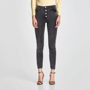 Zara NWT high waist button fly cords grey